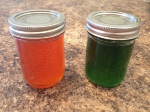 The jar on the left is Habanero Jelly and on the right is the Jalapeno Jelly. The jelly should last for quite awhile - this jalapeno jelly was still good after three years. Be careful about preparation and sanitation though if you plan on keeping it that long.